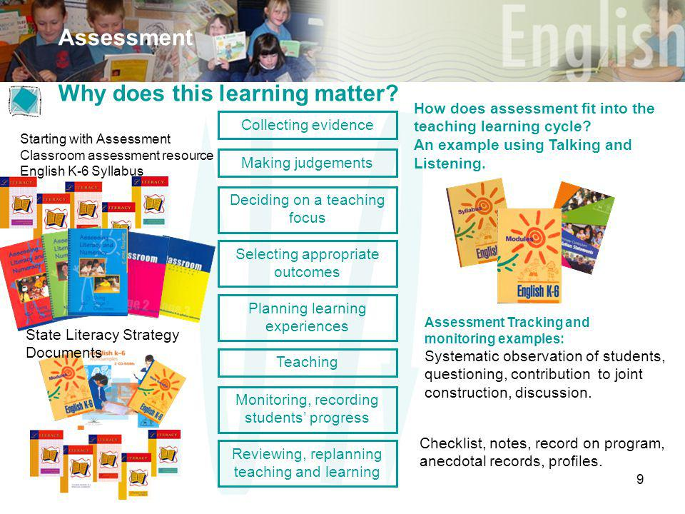 9 Assessment Selecting appropriate outcomes Deciding on a teaching focus Planning learning experiences Teaching Monitoring, recording students' progress Reviewing, replanning teaching and learning Making judgements Collecting evidence Why does this learning matter.