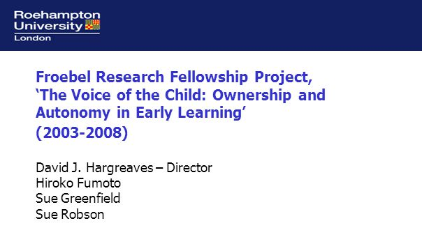 Research questions Three strands: Children's perspectives: What are the children's perspectives on their activities in early childhood settings, and how do they reflect upon these.