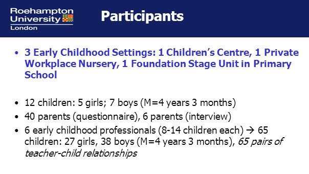 Research design Short-term longitudinal study Parents: 1 Phase Children: 1 Phase Teachers: Phase 1: the beginning of a school year Phase 2: the end of a school year