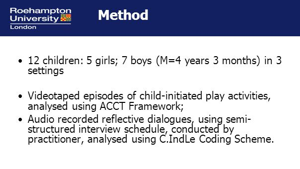 Method 12 children: 5 girls; 7 boys (M=4 years 3 months) in 3 settings Videotaped episodes of child-initiated play activities, analysed using ACCT Framework; Audio recorded reflective dialogues, using semi- structured interview schedule, conducted by practitioner, analysed using C.IndLe Coding Scheme.
