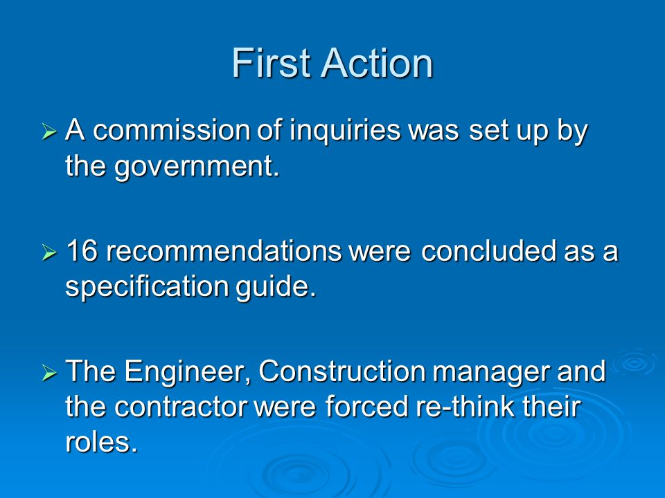 First Action  A commission of inquiries was set up by the government.