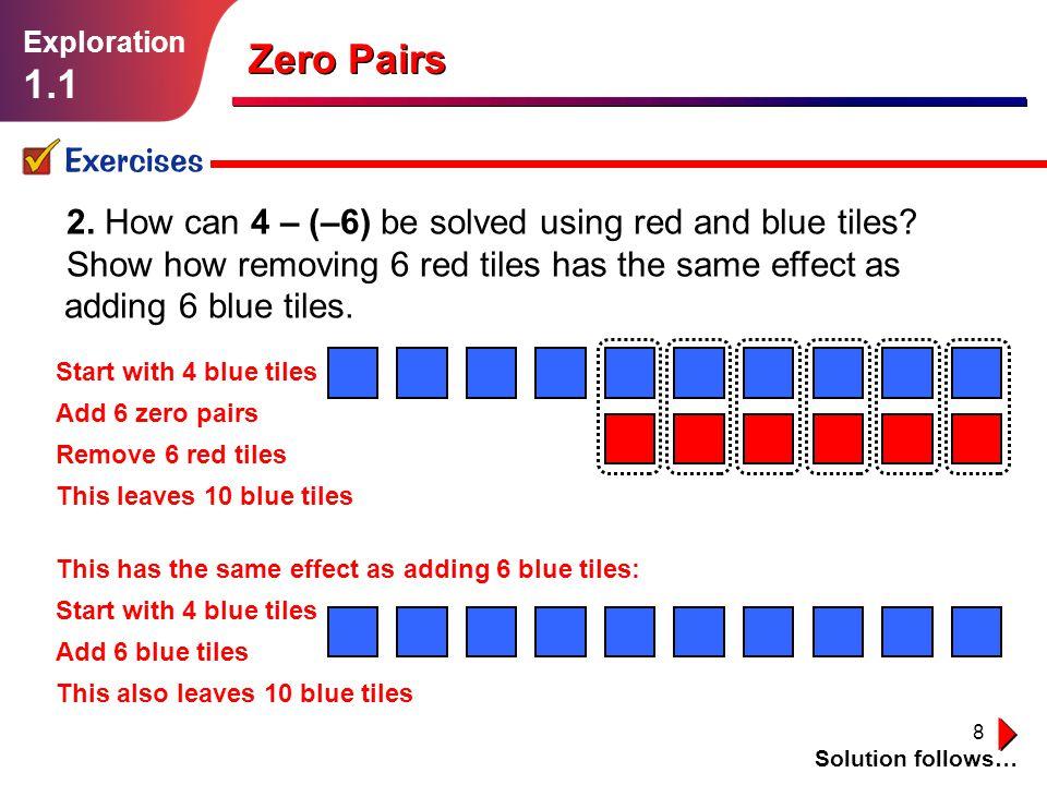 8 Zero Pairs Exercises Solution follows… Exploration 1.1 2.