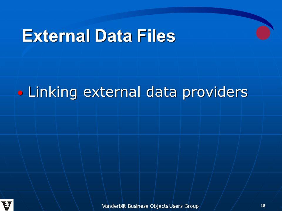 Vanderbilt Business Objects Users Group 18 Linking external data providers Linking external data providers External Data Files