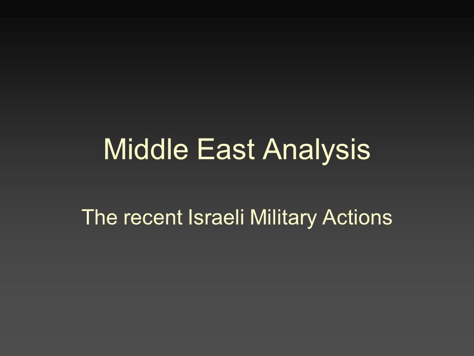 Middle East Analysis The recent Israeli Military Actions