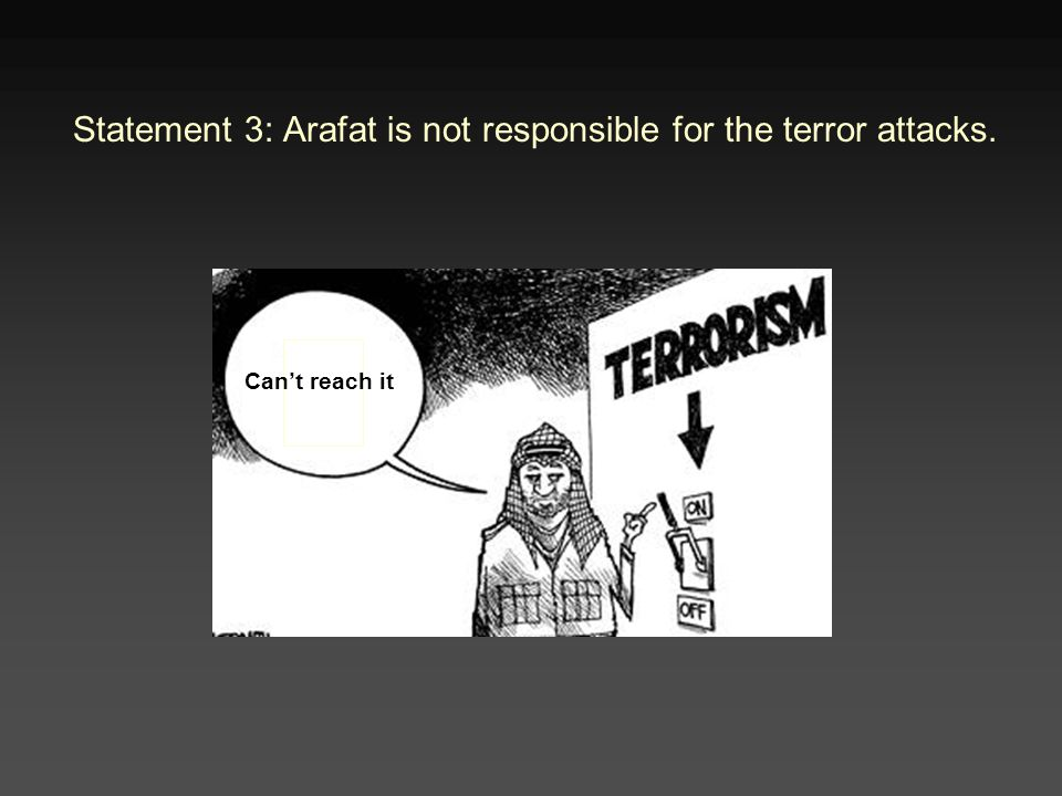Statement 3: Arafat is not responsible for the terror attacks. Can't reach it