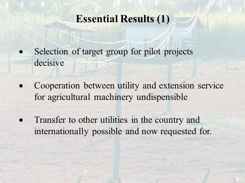  Selection of target group for pilot projects decisive  Cooperation between utility and extension service for agricultural machinery undispensible  Transfer to other utilities in the country and internationally possible and now requested for.