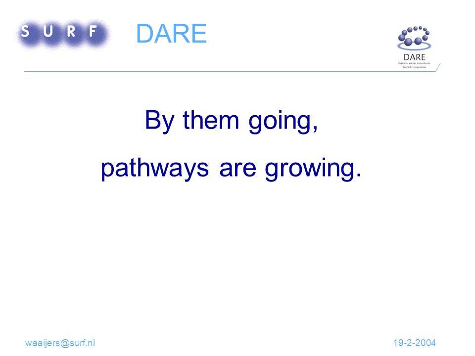 19-2-2004waaijers@surf.nl By them going, pathways are growing. DARE