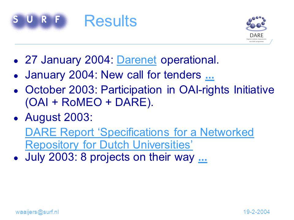 19-2-2004waaijers@surf.nl Results 27 January 2004: Darenet operational.Darenet January 2004: New call for tenders......