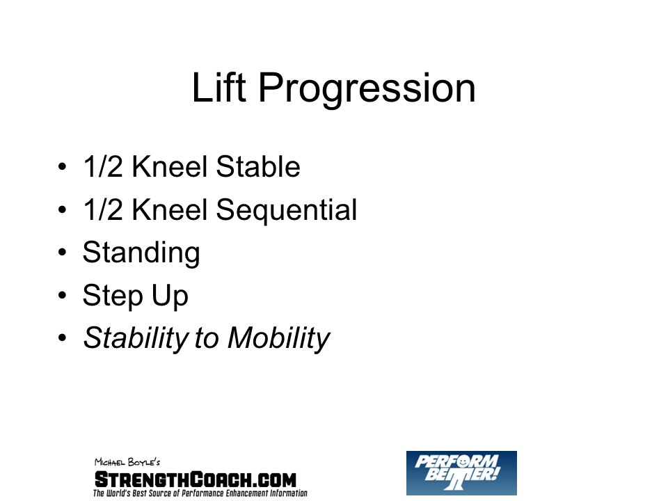 Lift Progression 1/2 Kneel Stable 1/2 Kneel Sequential Standing Step Up Stability to Mobility