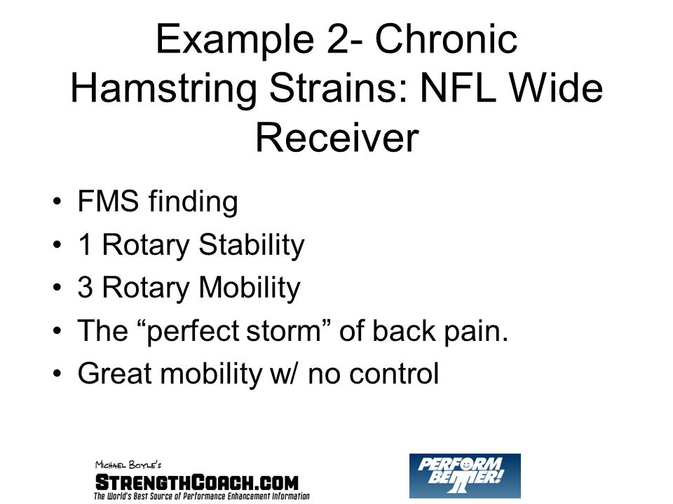 Example 2- Chronic Hamstring Strains: NFL Wide Receiver FMS finding 1 Rotary Stability 3 Rotary Mobility The perfect storm of back pain.