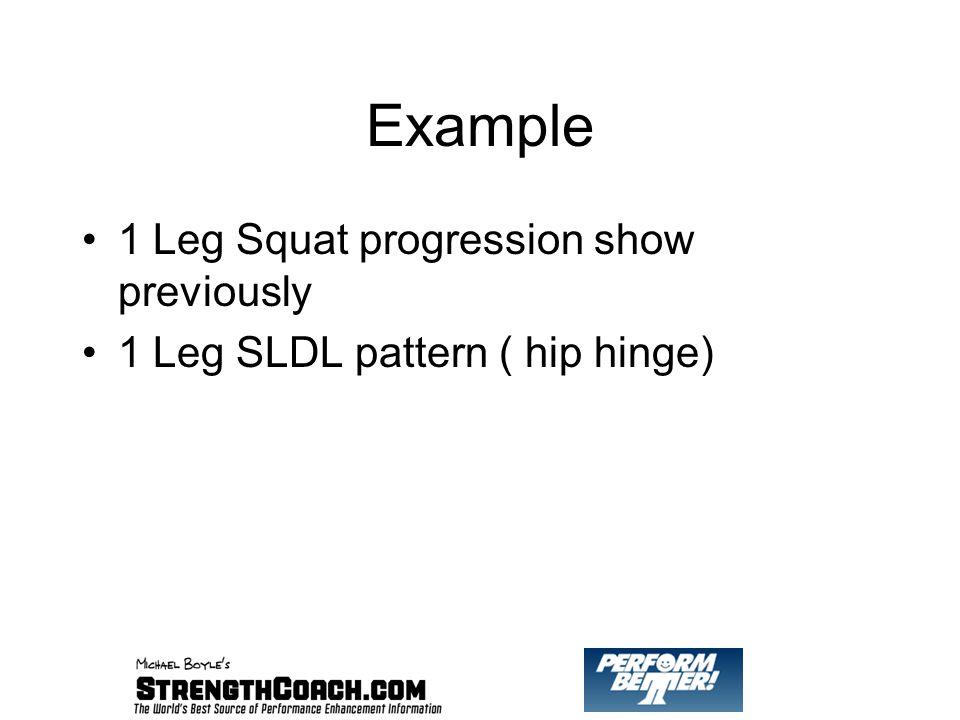 Example 1 Leg Squat progression show previously 1 Leg SLDL pattern ( hip hinge)