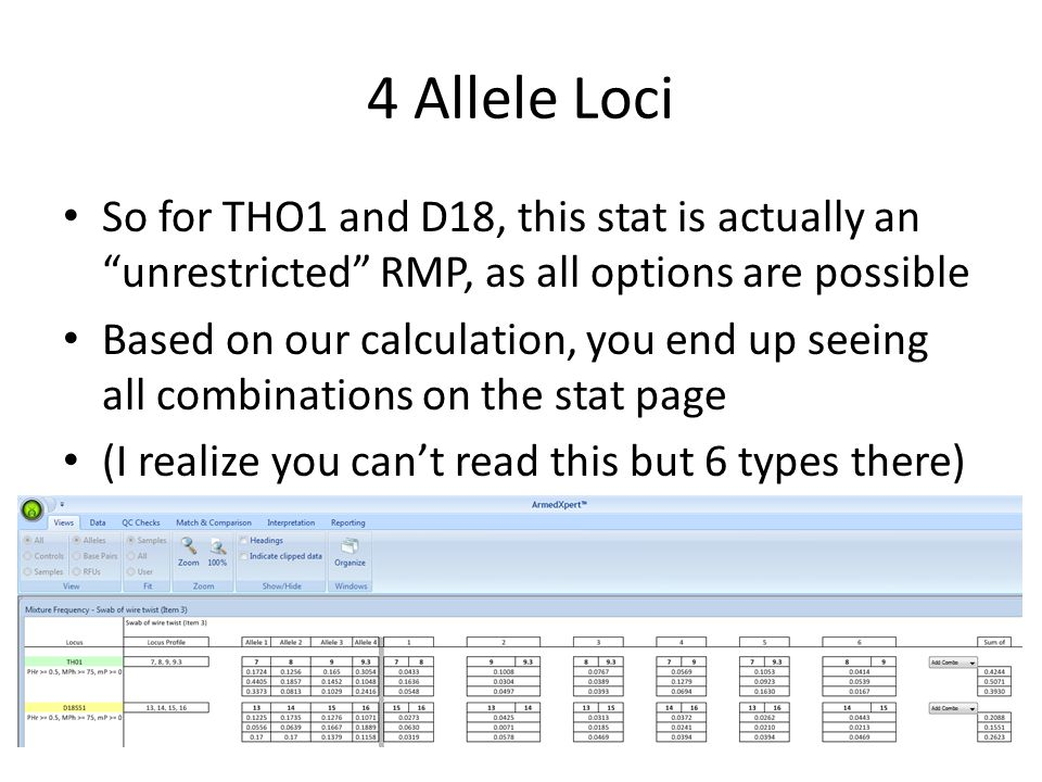 4 Allele Loci So for THO1 and D18, this stat is actually an unrestricted RMP, as all options are possible Based on our calculation, you end up seeing all combinations on the stat page (I realize you can't read this but 6 types there)