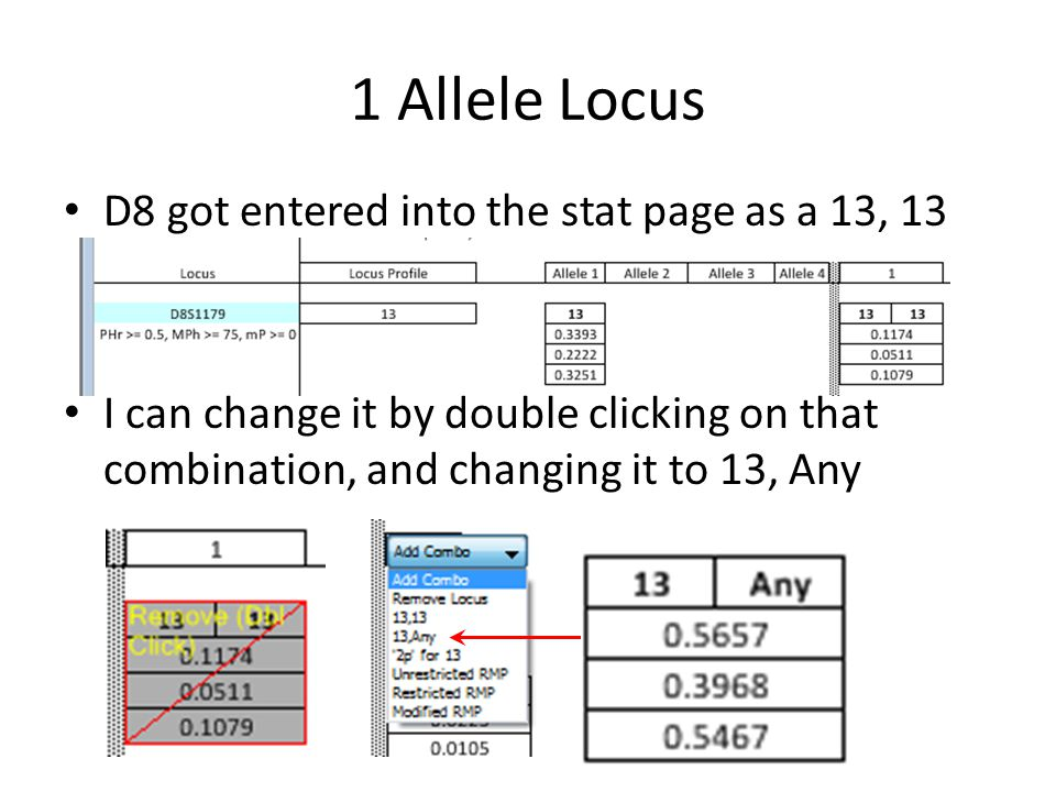 1 Allele Locus D8 got entered into the stat page as a 13, 13 I can change it by double clicking on that combination, and changing it to 13, Any