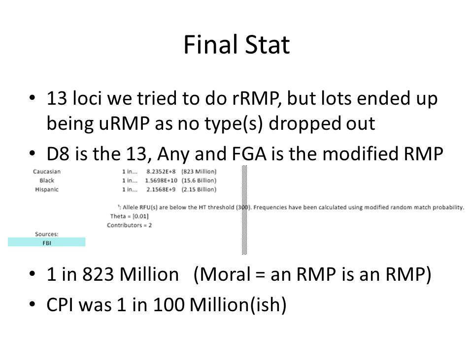 Final Stat 13 loci we tried to do rRMP, but lots ended up being uRMP as no type(s) dropped out D8 is the 13, Any and FGA is the modified RMP 1 in 823 Million (Moral = an RMP is an RMP) CPI was 1 in 100 Million(ish)