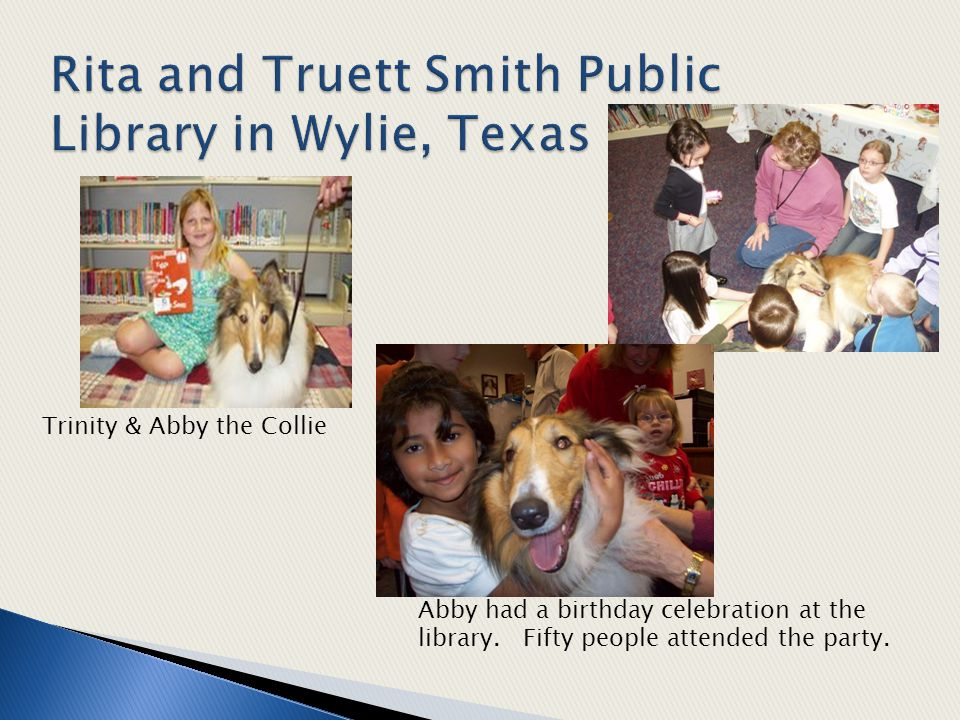 Trinity & Abby the Collie Abby had a birthday celebration at the library.