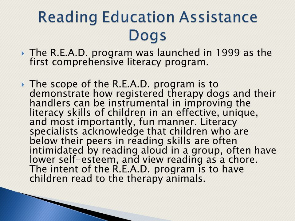  The R.E.A.D.program was launched in 1999 as the first comprehensive literacy program.