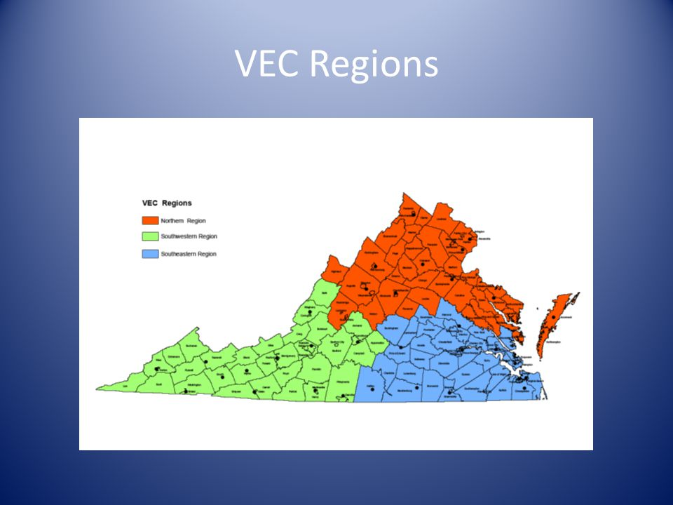 Overview VEC VEC State Agency, one EO Officer 3 Regions (Northern, Southwestern & Southeastern) Programs and services – Unemployment Insurance/ Wagner-Peyser – Veteran Services/ Employer Services – Trade Act Assistance/ Foreign Labor Certification – Rural Services Program – Migrant and Seasonal Farmworkers