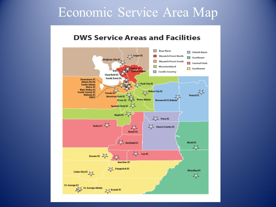 Overview of DWS Single state service delivery, one EO Officer 9 Economic Service Areas Programs and services WIA Employment exchange TANF Food stamps Childcare Medicaid