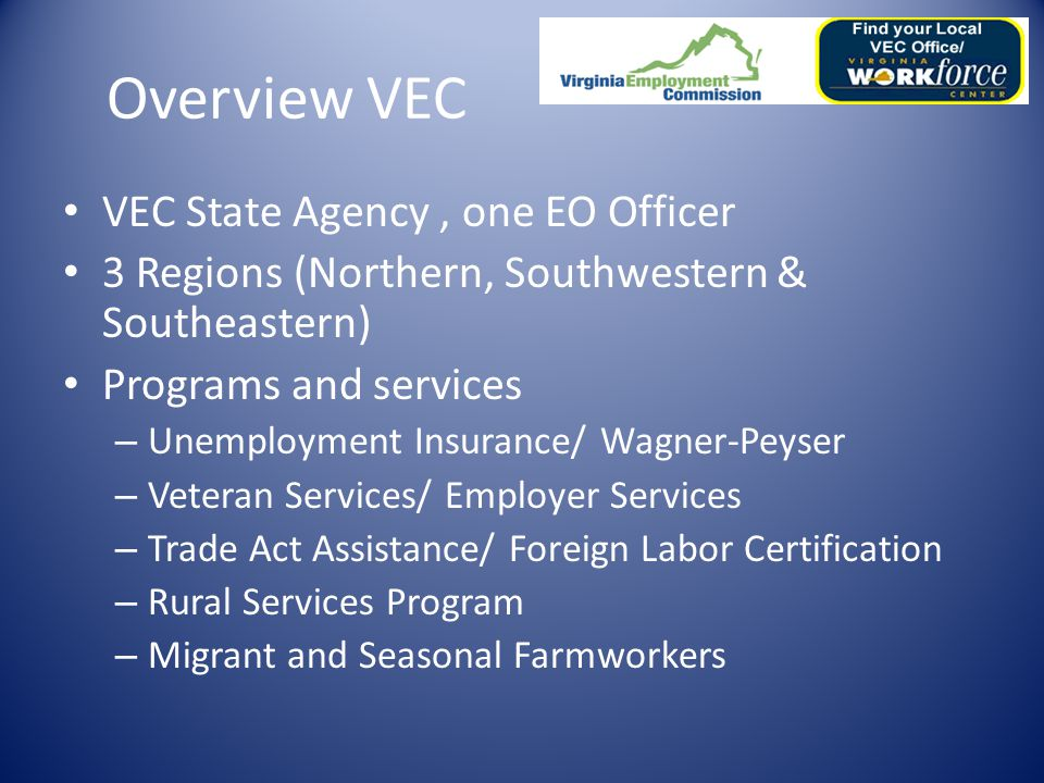 Shirley M. Bray-Sledge State EO Officer Virginia Employment Commission Commonwealth of Virginia