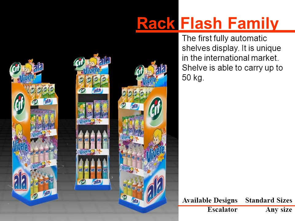 The first fully automatic shelves display. It is unique in the international market.