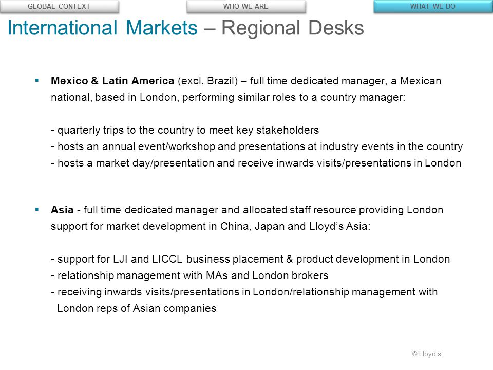 © Lloyd's  Mexico & Latin America (excl.