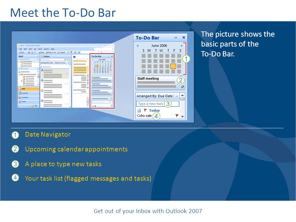 Get out of your Inbox with Outlook 2007 Meet the To-Do Bar The picture shows the basic parts of the To-Do Bar.