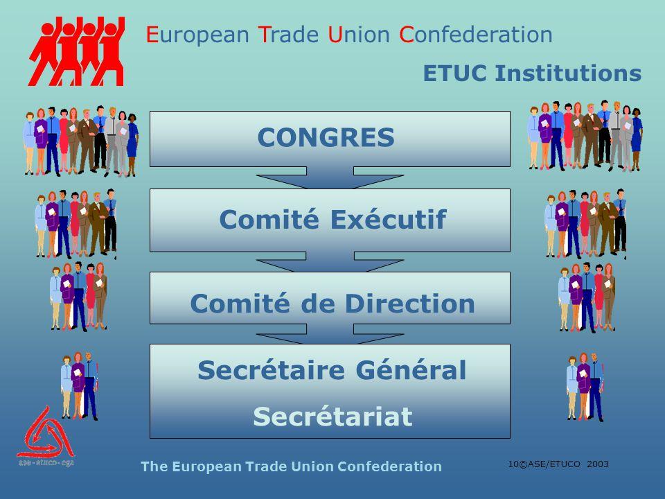 European Trade Union Confederation The European Trade Union Confederation 10©ASE/ETUCO 2003 CONGRES Comité Exécutif Comité de Direction Secrétaire Général Secrétariat ETUC Institutions