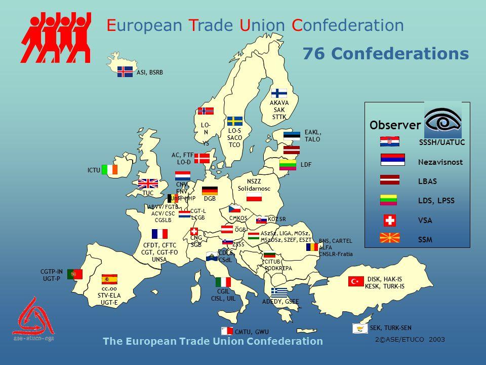 European Trade Union Confederation The European Trade Union Confederation 2©ASE/ETUCO 2003 LO- N YS LO-S SACO TCO AKAVA SAK STTK AC, FTF LO-D ICTU TUC CGTP-IN UGT-P cc.oo STV-ELA UGT-E CFDT, CFTC CGT, CGT-FO UNSA DGB ABVV/ FGTB ACV/ CSC CGSLB CNV, FNV, Unie-MHP CGT-L LCGB CNG SGB CGIL CISL, UIL ADEDY, GSEE DISK, HAK-IS KESK, TURK-IS ÖGB NSZZ Solidarnosc CMKOS CMTU, GWU SEK, TURK-SEN ZSSS KOZ SR ASzSz, LIGA, MOSz, MSzOSz, SZEF, ESZT BNS, CARTEL ALFA CNSLR-Fratia CITUB PODKREPA CDLS, CSdL ASI, BSRB EAKL, TALO LDF Observer SSSH/UATUC Nezavisnost LBAS LDS, LPSS VSA SSM 76 Confederations