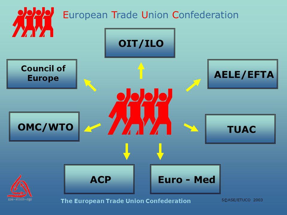 European Trade Union Confederation The European Trade Union Confederation 5©ASE/ETUCO 2003 AELE/EFTA Council of Europe OIT/ILOOMC/WTOACPEuro - MedTUAC