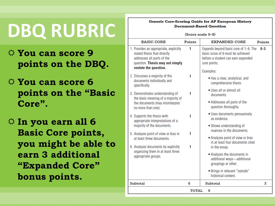 """DBQ RUBRIC  You can score 9 points on the DBQ.  You can score 6 points on the """"Basic Core"""".  In you earn all 6 Basic Core points, you might be able"""