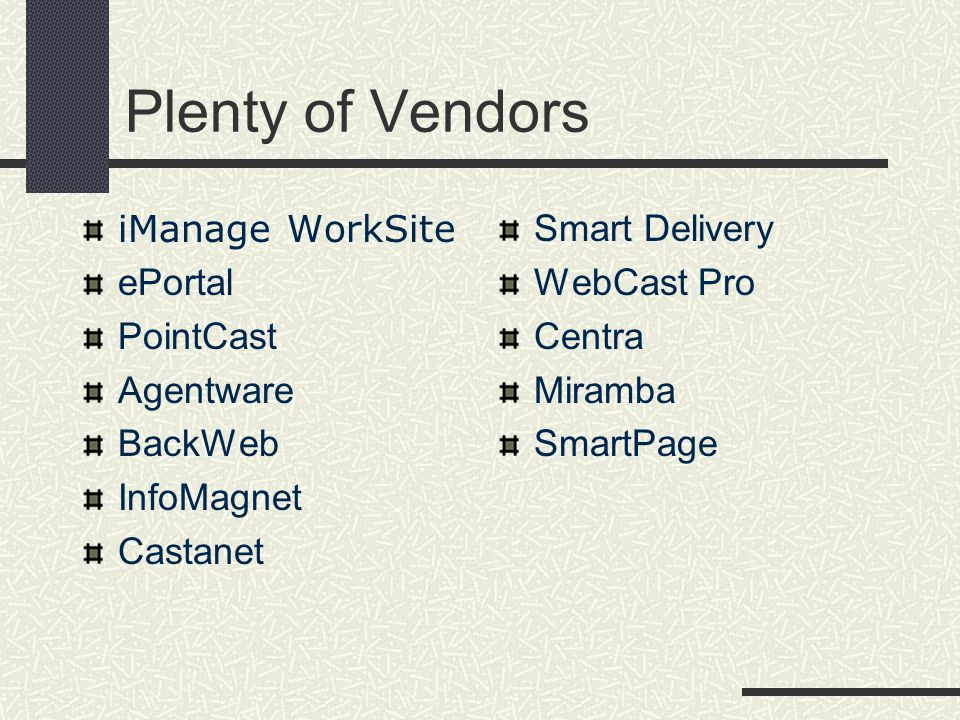 Plenty of Vendors iManage WorkSite ePortal PointCast Agentware BackWeb InfoMagnet Castanet Smart Delivery WebCast Pro Centra Miramba SmartPage