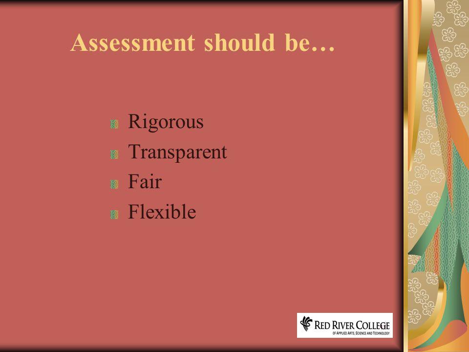 11 Assessment should be… Rigorous Transparent Fair Flexible