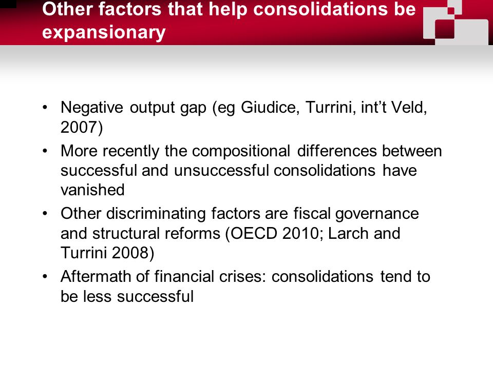 Other factors that help consolidations be expansionary Negative output gap (eg Giudice, Turrini, int't Veld, 2007) More recently the compositional differences between successful and unsuccessful consolidations have vanished Other discriminating factors are fiscal governance and structural reforms (OECD 2010; Larch and Turrini 2008) Aftermath of financial crises: consolidations tend to be less successful
