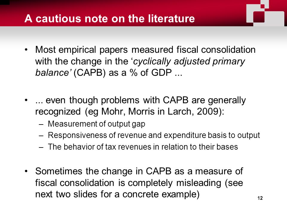 A cautious note on the literature Most empirical papers measured fiscal consolidation with the change in the 'cyclically adjusted primary balance' (CAPB) as a % of GDP......