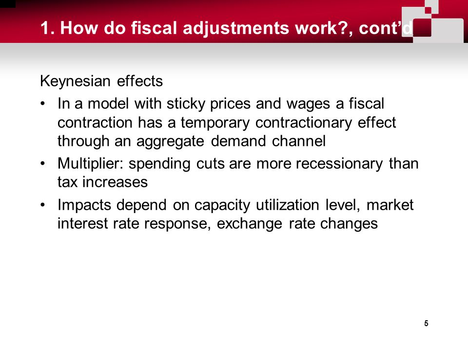 5 1. How do fiscal adjustments work?, cont'd Keynesian effects In a model with sticky prices and wages a fiscal contraction has a temporary contractio