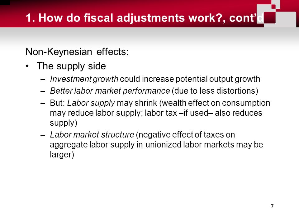 7 1. How do fiscal adjustments work?, cont'd Non-Keynesian effects: The supply side –Investment growth could increase potential output growth –Better