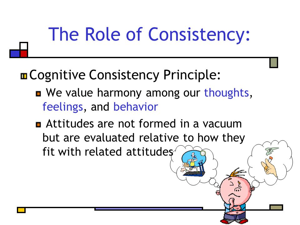 The Role of Consistency: Cognitive Consistency Principle: We value harmony among our thoughts, feelings, and behavior Attitudes are not formed in a vacuum but are evaluated relative to how they fit with related attitudes