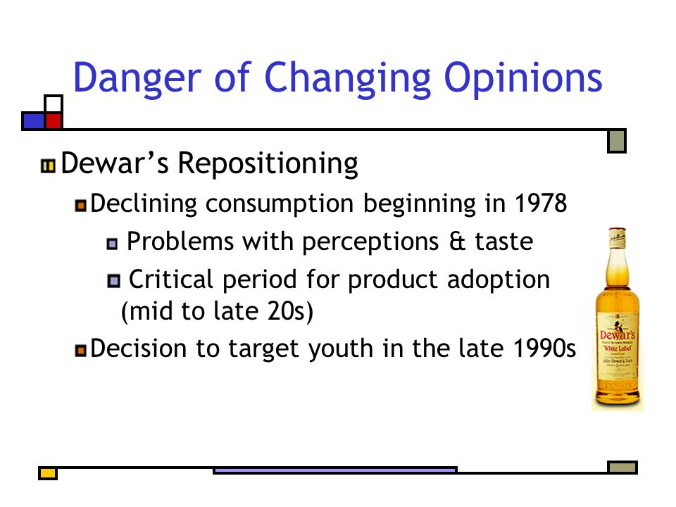 Danger of Changing Opinions Dewar's Repositioning Declining consumption beginning in 1978 Problems with perceptions & taste Critical period for product adoption (mid to late 20s) Decision to target youth in the late 1990s