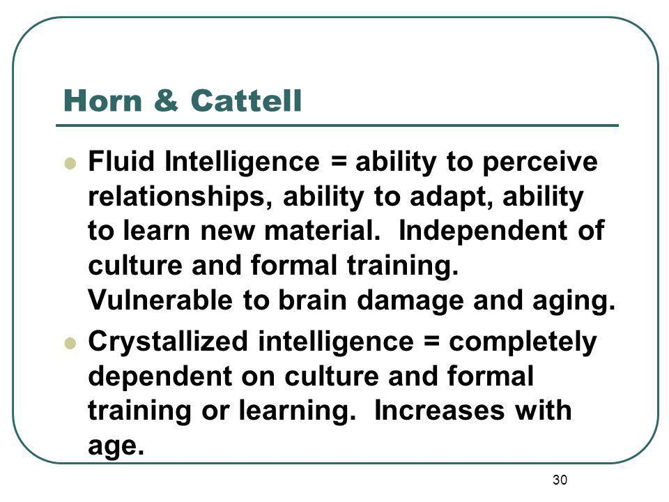 Horn & Cattell Fluid Intelligence = ability to perceive relationships, ability to adapt, ability to learn new material.