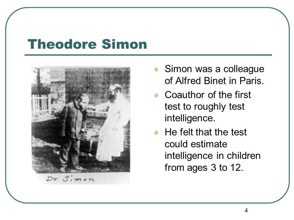 Theodore Simon Simon was a colleague of Alfred Binet in Paris.