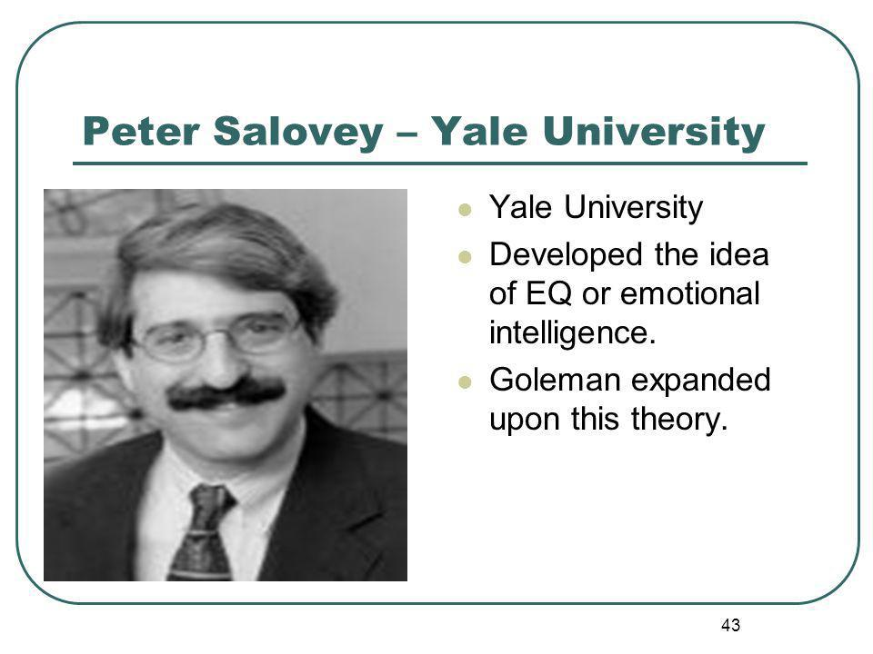 Peter Salovey – Yale University Yale University Developed the idea of EQ or emotional intelligence.