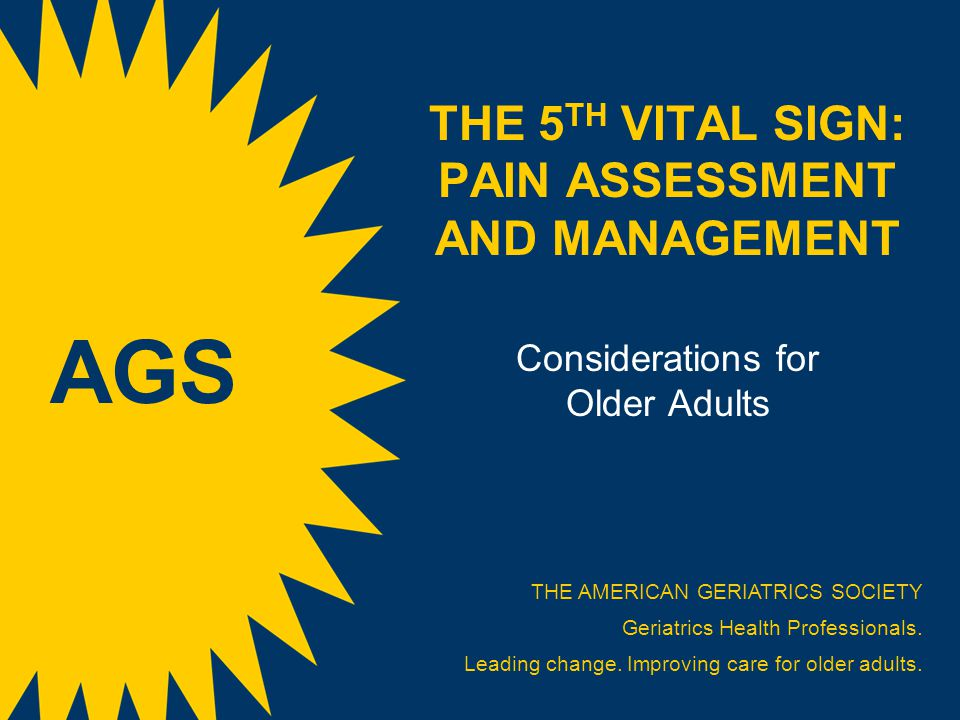 THE 5 TH VITAL SIGN: PAIN ASSESSMENT AND MANAGEMENT Considerations for Older Adults THE AMERICAN GERIATRICS SOCIETY Geriatrics Health Professionals. L
