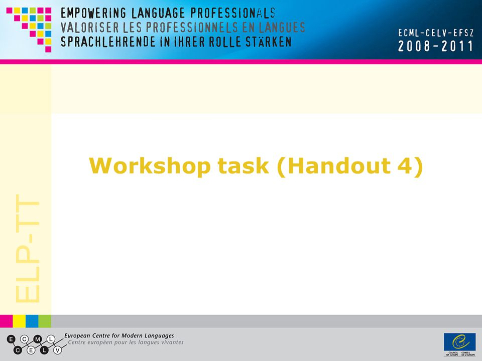 ELP-TT Workshop task (Handout 4)