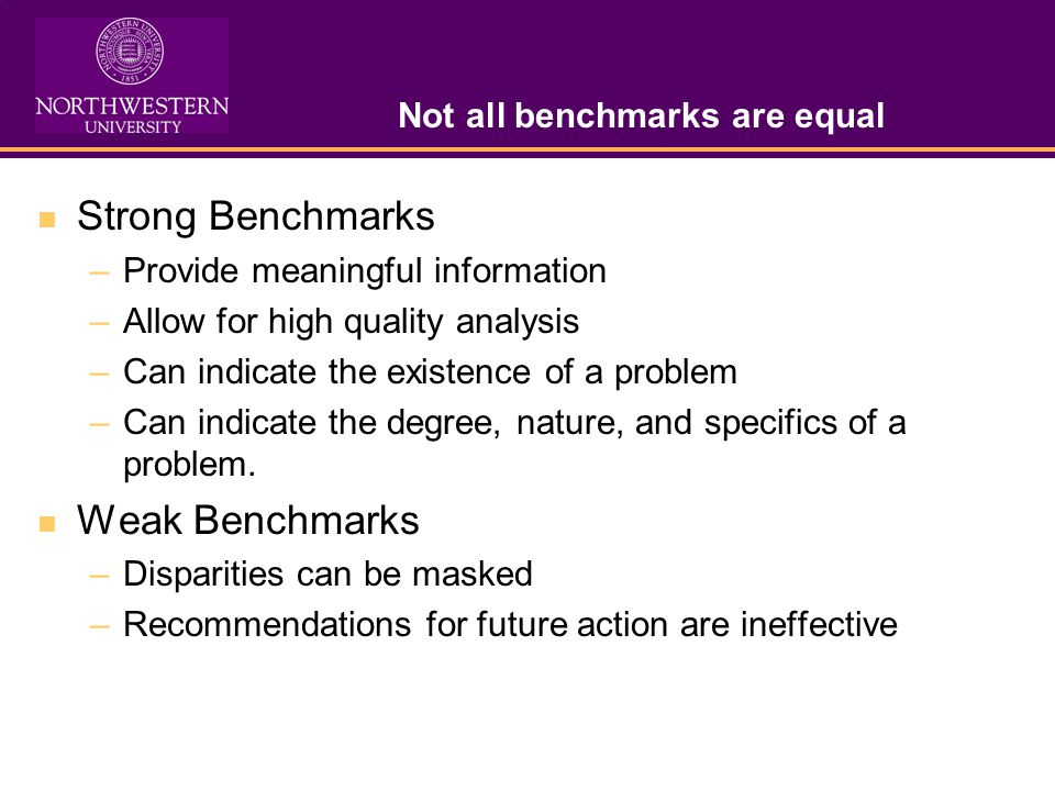 Not all benchmarks are equal Strong Benchmarks –Provide meaningful information –Allow for high quality analysis –Can indicate the existence of a problem –Can indicate the degree, nature, and specifics of a problem.