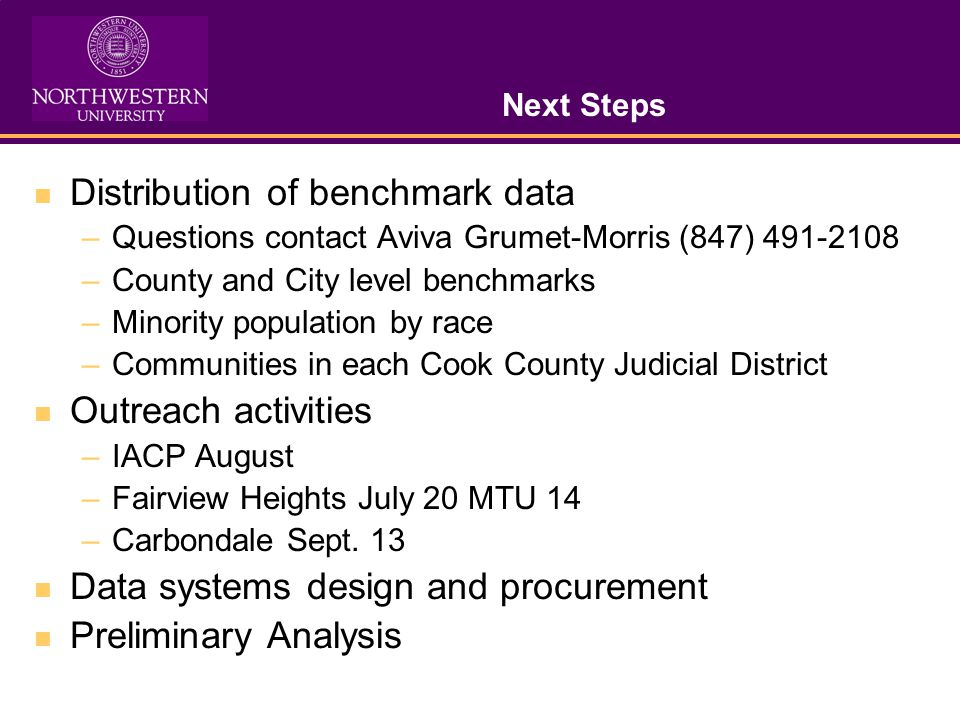 Next Steps Distribution of benchmark data –Questions contact Aviva Grumet-Morris (847) 491-2108 –County and City level benchmarks –Minority population by race –Communities in each Cook County Judicial District Outreach activities –IACP August –Fairview Heights July 20 MTU 14 –Carbondale Sept.