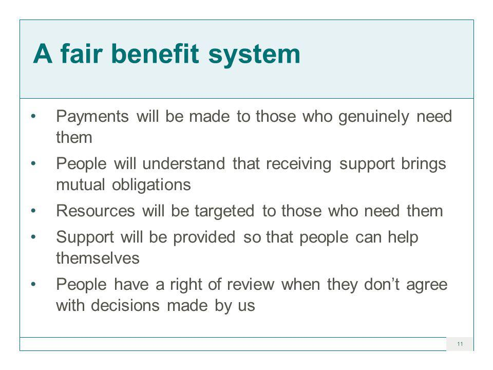 11 A fair benefit system Payments will be made to those who genuinely need them People will understand that receiving support brings mutual obligations Resources will be targeted to those who need them Support will be provided so that people can help themselves People have a right of review when they don't agree with decisions made by us