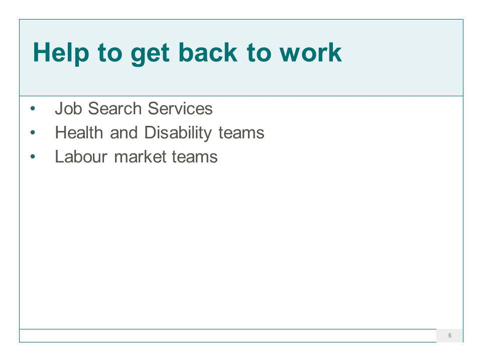 6 Help to get back to work Job Search Services Health and Disability teams Labour market teams
