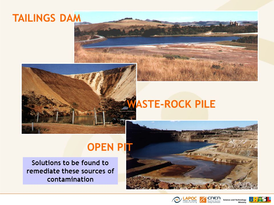 Solutions to be found to remediate these sources of contamination TAILINGS DAM WASTE-ROCK PILE OPEN PIT