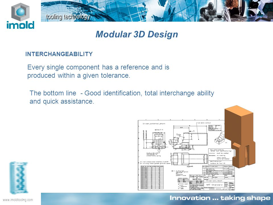 www.imoldtooling.com INTERCHANGEABILITY Every single component has a reference and is produced within a given tolerance. The bottom line - Good identi