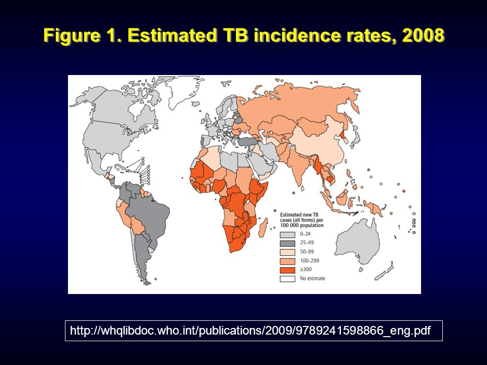 Figure 1. Estimated TB incidence rates, 2008 http://whqlibdoc.who.int/publications/2009/9789241598866_eng.pdf